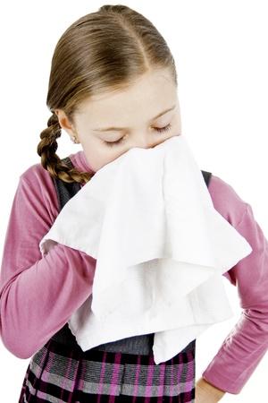 Little Schoolgirl treat a runny nose
