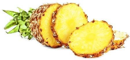 Fresh slice pineapple isolated on white background