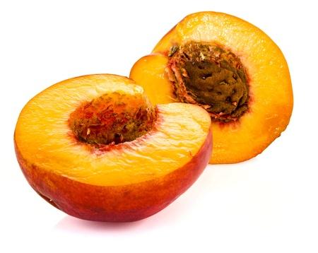 Peaches isolated on white Stock Photo
