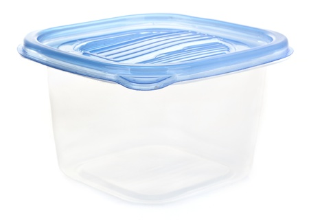 Plastic container for food isolated on white Stock Photo