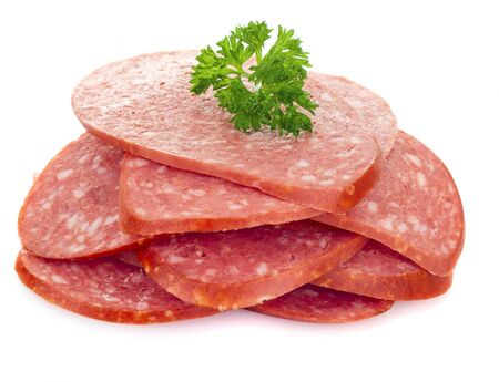 sliced smoked sausage isolated on white background