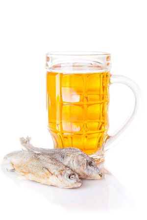 salted fish and a glass of beer
