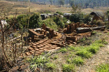 angola: Traditional bricks construction in Angola Stock Photo
