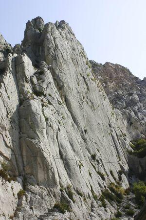 motor car candles: Climbing in Alps. Sisteron France. Stock Photo
