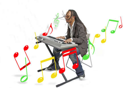 African American musician performing with keyboards while graphic musical notes float around him
