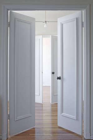 View through two double doorways with the doors open Stock Photo