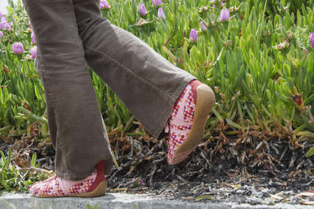 The legs of a woman wearing cord pants and colorful shoes, taking a step next to some plants