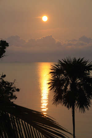 Sun rising over the Caribbean Sea in Belize
