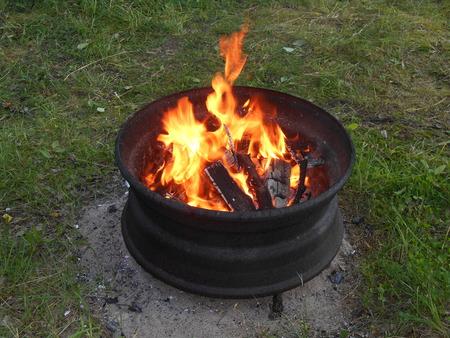 rim: Truck rim grill open fire