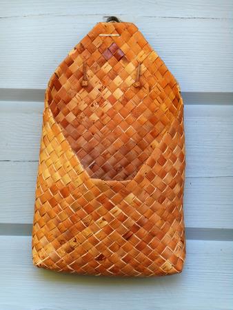birchbark: Wall basket made of birchbark