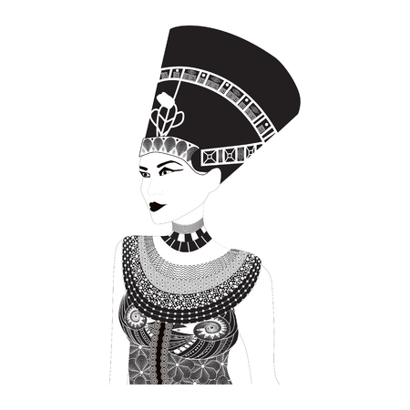 cleopatra: Vector illustration Egyptian Queen in doodles style