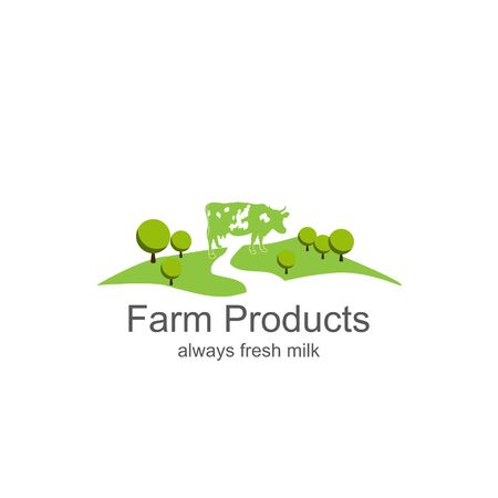dairy product: Farm milk icon. Dairy farm product logo labelsFarm products Illustration