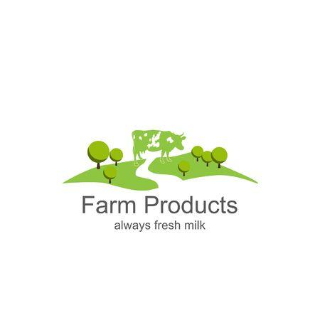 Farm milk icon. Dairy farm product logo labelsFarm products Illustration