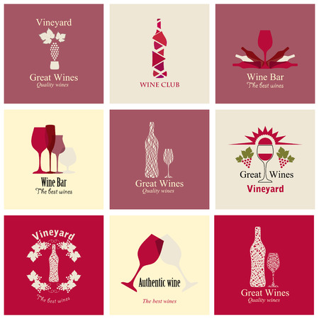 wineries: Set of icons for wine, wineries, restaurants  and wine shops Illustration