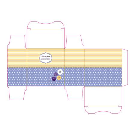dieline: Die stamping present paper box.  Empty label.