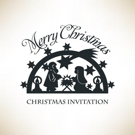Kerststal. Paper Cut Kerst achtergrond. Vector Vector Illustratie
