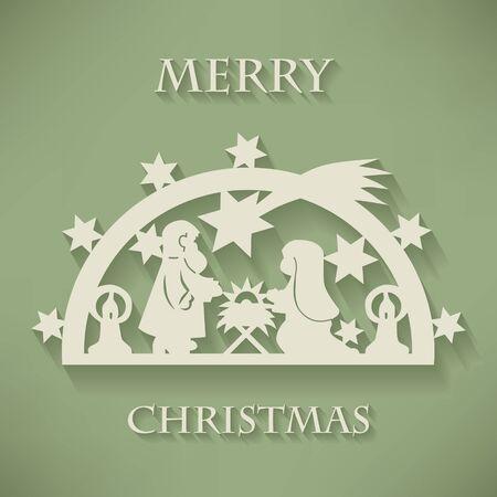 Nativity scene. Paper cut Christmas background. Vector Stock Illustratie