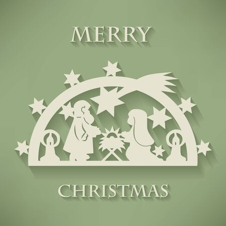 Nativity scene. Paper cut Christmas background. Vector Illustration