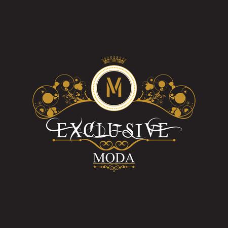 Marco antiguo del oro de la vendimia en negro. EXCLUSIVO MODA. Logo caro y exclusivo