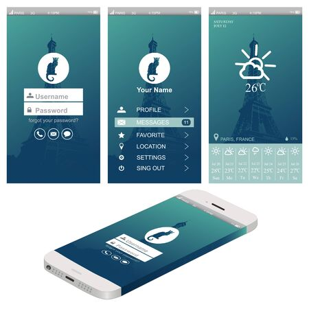 Vector illustration of apps icon set for mobile device