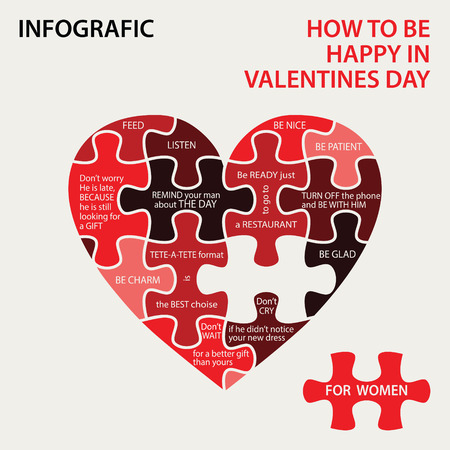 for women: Infografic for Valentines day with puzzle pieces.  For women Illustration