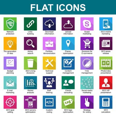 illustraion: Set Universal bright Flat Icons. Vector illustraion Illustration