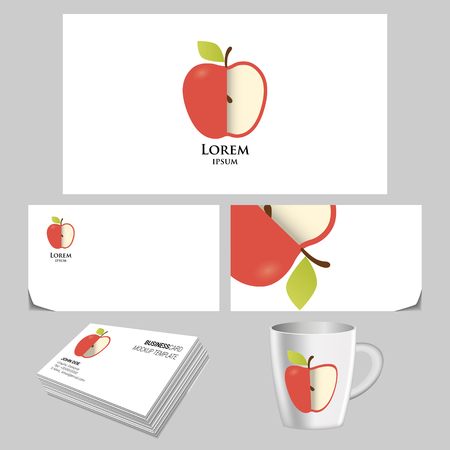 Vector bright apple logo creative template business card vector vector vector bright apple logo creative template business card vector realistic branding mock up reheart Images