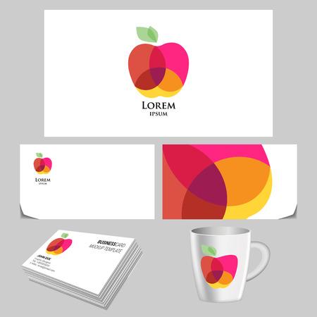 negocios comida: Vector logo manzana brillante. tarjeta de visita plantilla de la creatividad. Vector realista marca maqueta Vectores