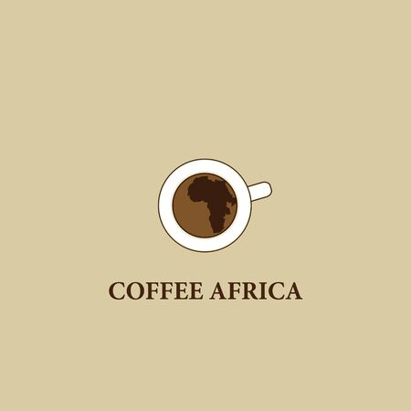 cofffee: Coffee cup with the silhouette Africa. Logo label concept menu
