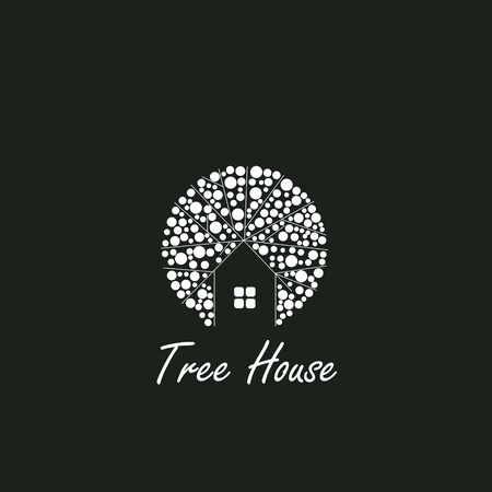 innovative: Tree House logo element innovative and creative inspiration for business company. Illustration