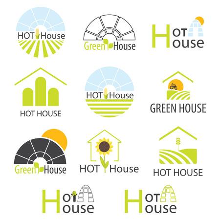 Set van vector groen huis. Logo ontwerp voor kassen en landschapsarchitectuur Companys, merk