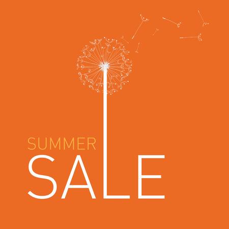 end of summer: Summer Sale. Vector summer background with dandelion