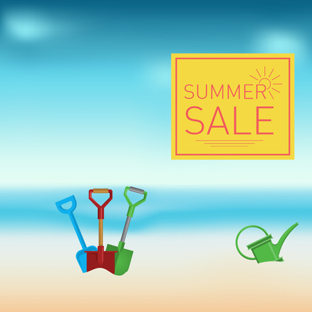 watering pot: Summertime sale with spades and watering pot , vector illustration. Illustration