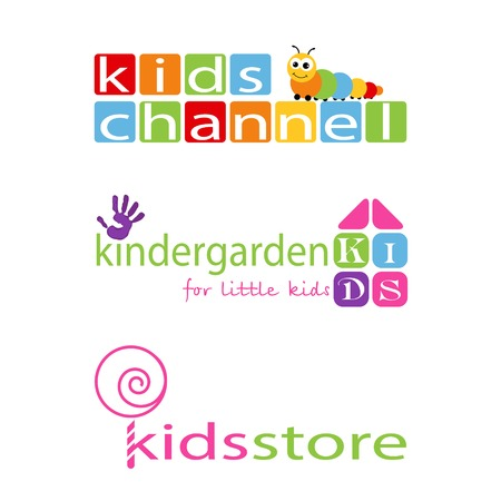 kindergarden: Collection logotypes for children. Logo for kindergarden, children club, kids channel and etc.