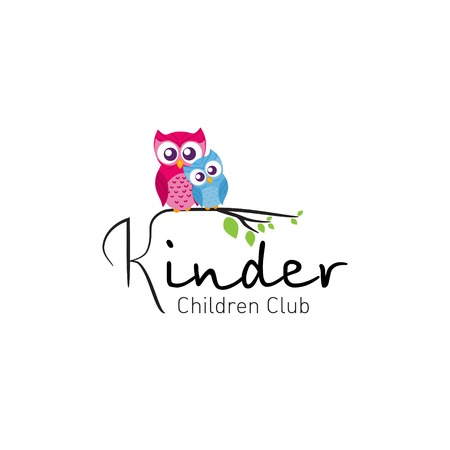 kindergarden: Owls in branch. Vector logo for children club Illustration