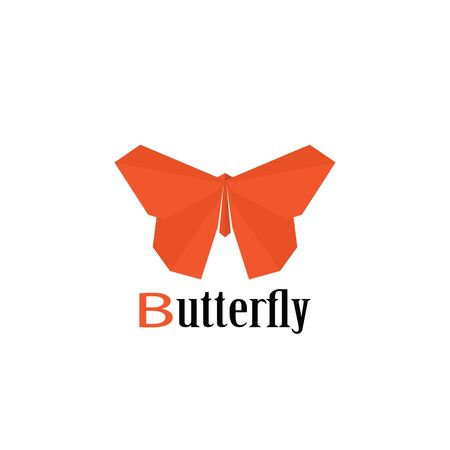 butterfly: Vector trendy minimalistic orange butterfly logo in flat style