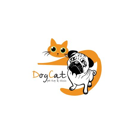 kitty: Pets shop and clinic. Vector illustration. Logo