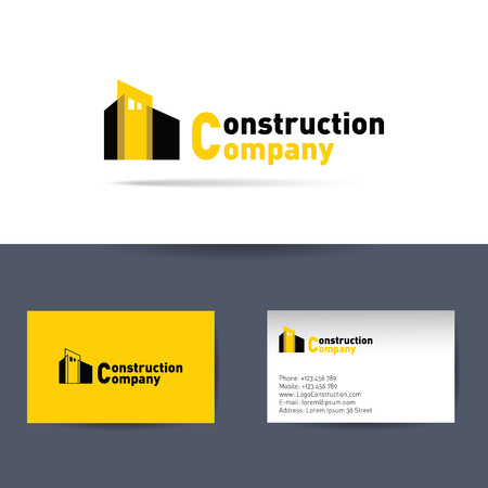 corporations: Business card template for construction corporation