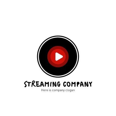 Streaming company logo. Vinyl record icon. Vector Illustration Illustration