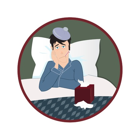 duvet: Sick man with thermometer in his mouth. Vector flat illustration Illustration