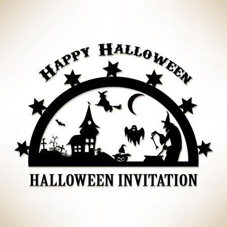 Happy Halloween Poster. Invitation card. Vector illustration