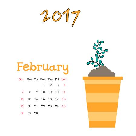 Vector calendar template for February 2017 with cute sprout