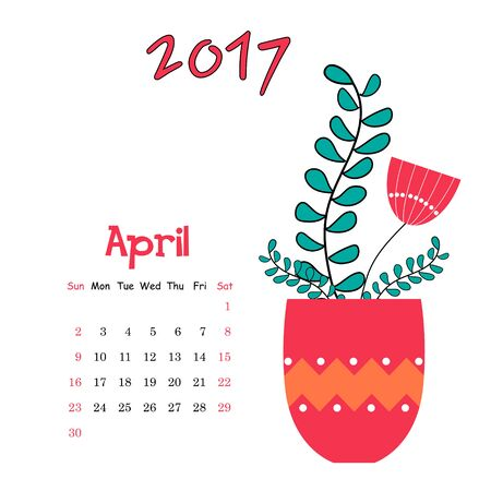 the sprouting: Vector calendar template for April 2017 with vase