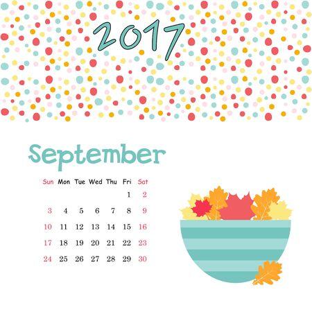september calendar: Vector cute september calendar template for July 2017 Illustration