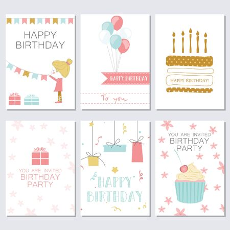happy birtday: Set of birthday, greeting and invitation card. Vector illustration