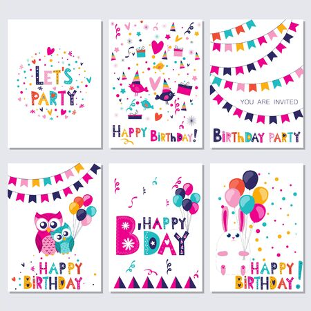 happy birtday: Set of bright colorful birthday cards with birds, owls and rabbit Vector illustration