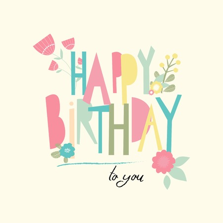 happy birtday: Birthday card with unusual letters. Vector illustration Illustration
