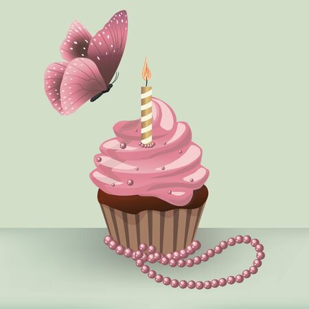 pearl necklace: Vector illustration Birthday cupcake with burning candle and butterfly on the table with pearl necklace