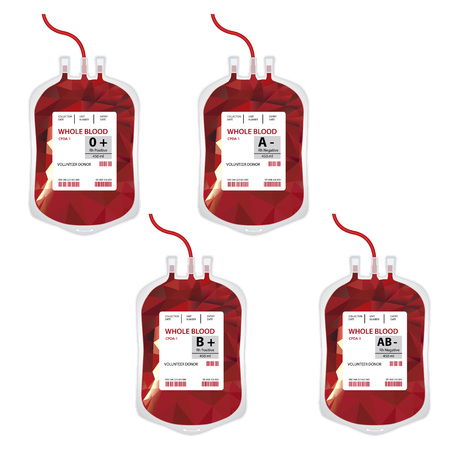 Vector illustration blood bag with label different blood group ABO and Rh system