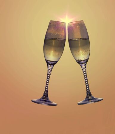 honored: 2 champagne glasses toasting Stock Photo